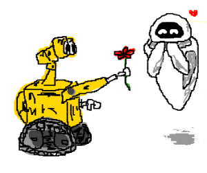 Wall-E gives EVE a flower