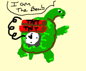 turtle marked TNT with detonator on back