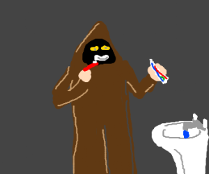 Jawa brushing his teeth