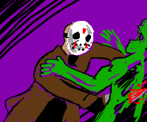 Jason Voorhees stabs a zombie