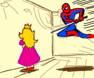Spiderman about to stab Peach onstage.
