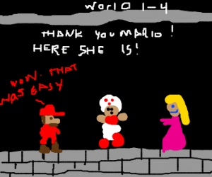 Mario's unexpected ending at world 1 castle