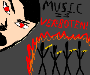 Hitler personally holocausts stickman flutists