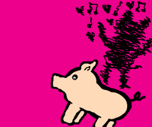 pig shadow loves listening to music