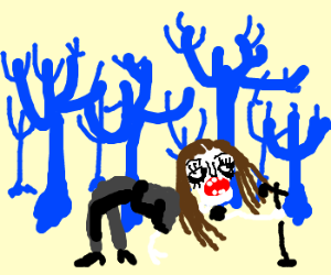 Shadowcide in a blue forest with no leaves.