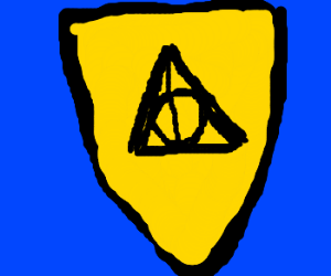 A crest depicting the Deathly Hallows symbol.