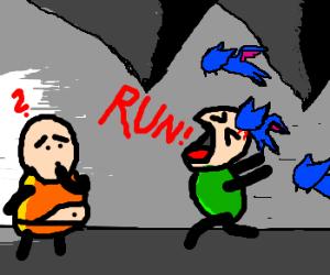 """Run!""  Zubat ahead!"