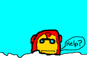 Someone hid Iron Man in the snow.