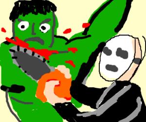 Jason slaying Hulk with chainsaw.
