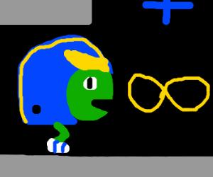 One legged helmeted turtle eats infinity