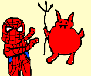 Spiderman fights devil