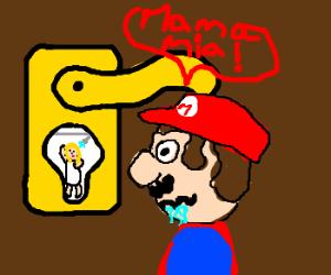 Mario Peeps On Peach Post-Shower