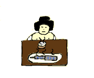 hudge sumo wrestler eating buildings with rice