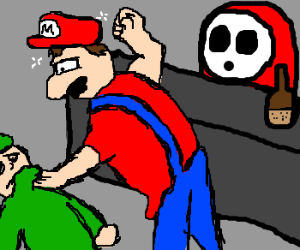Mario and Link in a bar fight.