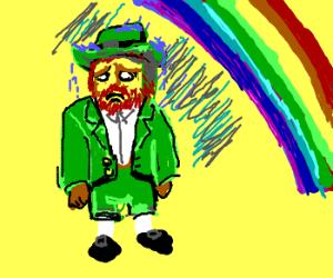 Sad leprechaun gets rained on by a rainbow