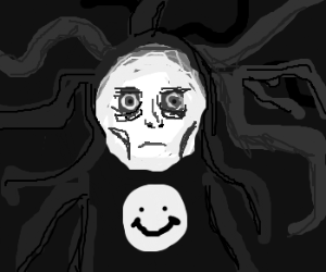 Slenderman got a mask an a smiley shirt