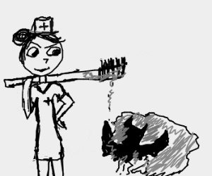 Ghost nurse kills a bat with a toothbrush