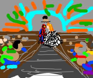 Redhead has a wedding dress of spider silk