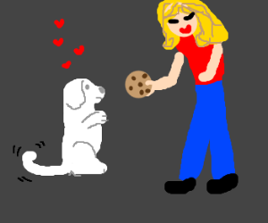 Cute little white puppy wants a cookie