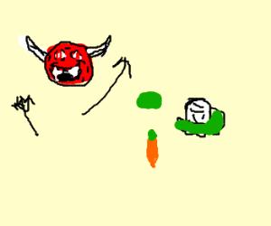 satan is overjoyed at vegetables