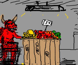 Spawn of Satan goes to the grocery store