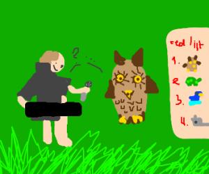 a flasher inteviews an endangered owl