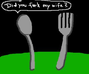 Concerned spoon confronts fork.