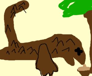 Brown dinosaur dies reaching for acorn