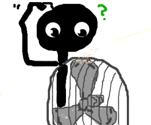 Stickman looking up at dust attached to fan