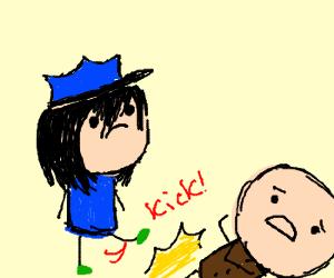 Emo cop kicks delinquent with alien feet.