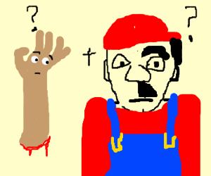 One-arm & half-hair Mario is confused
