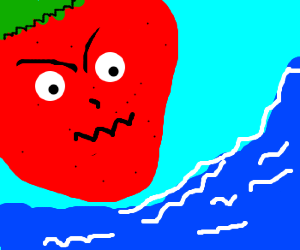 Strawberry angry at water