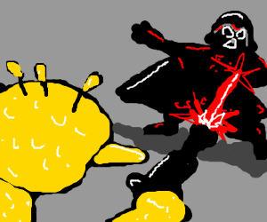 Big Bird shooting Darth Vader with a laser gun
