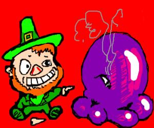 Lepracaun laughs at smoking purple blob