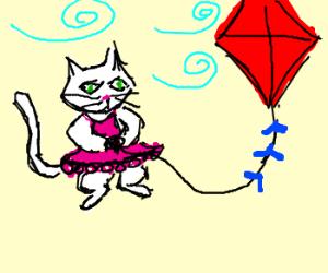 White cat in a dress flies a kite