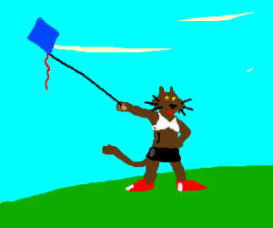 dolled up kitteh flying a kite