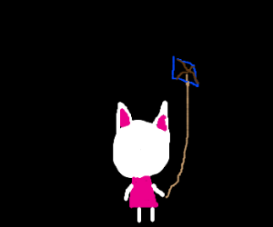 Blanca from Animal Crossing flies a kite.