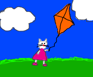 white cat in pink dress flies a kite