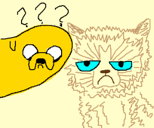 Jake the dog confused about grumpy cat