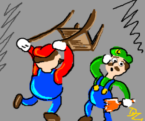Mario and Luigi in an epic bar fight.