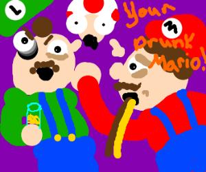Mario and Luigi start a bar brawl