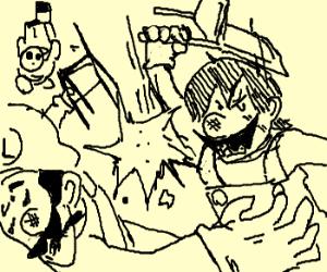 Mario, Luigi, Shy guy in a wooden chair match