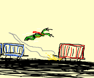 Raphael ninja turtle chases runaway wagon
