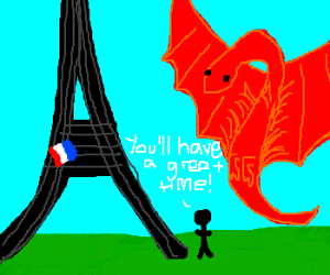 man lures dragon to Eiffel tower