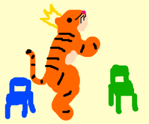 king tiger dances between green and blue chair