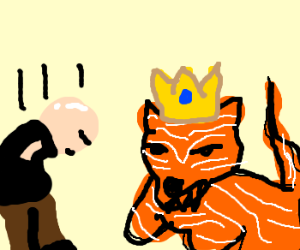bald man bows to tiger king with no arms