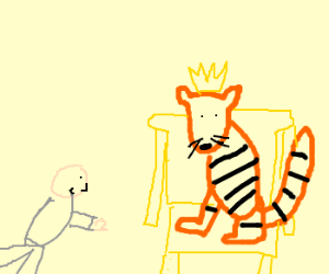bald man bows to the tiger king