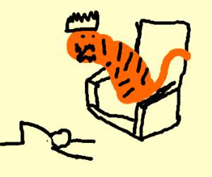 A man worships a tiger on the throne