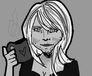 Stubbly Cameron Diaz enjoys her coffee