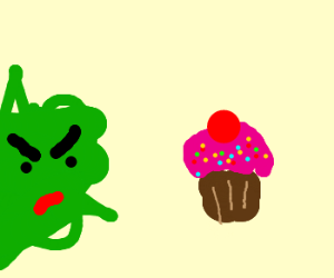 green is angry with a cupcake
